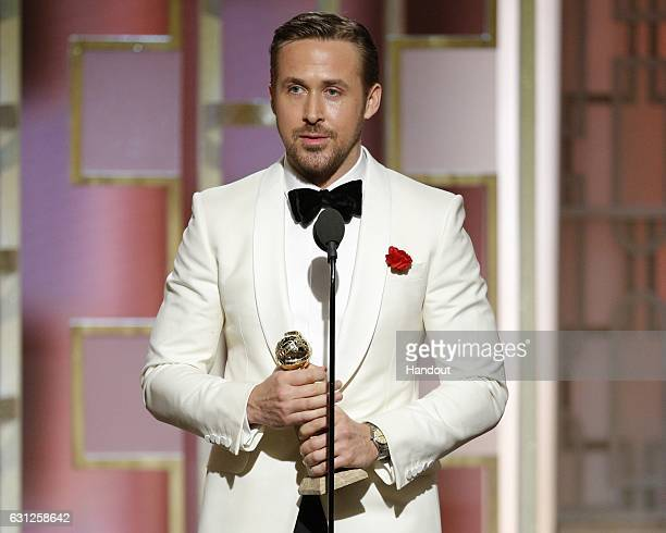 In this handout photo provided by NBCUniversal, Ryan Gosling accepts the award for Best Actor in a Motion Picture - Musical or Comedy for his role in...