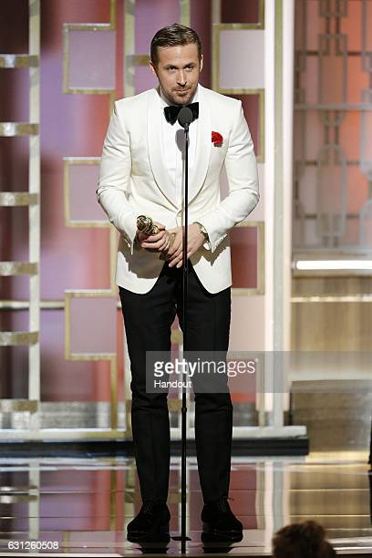 In this handout photo provided by NBCUniversal Ryan Gosling accepts the award for Best Actor in a Motion Picture Musical or Comedy for his role in La...