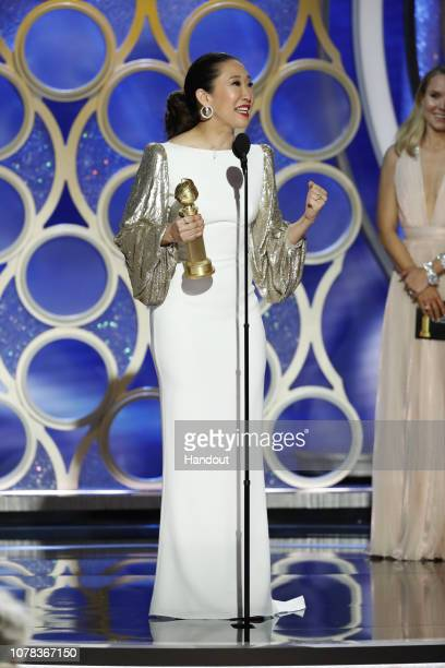 "In this handout photo provided by NBCUniversal, Sandra Oh from ""Killing Eve"" accept the Best Performance by an Actress in a Television Series – Drama..."
