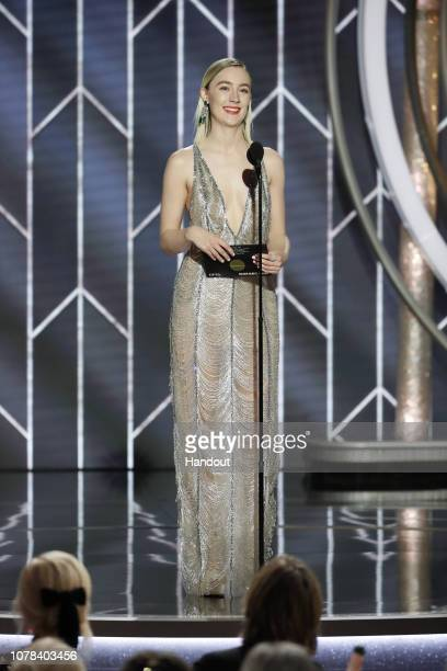 In this handout photo provided by NBCUniversal Saoirse Ronan speaks onstage during the 76th Annual Golden Globe Awards at The Beverly Hilton Hotel on...