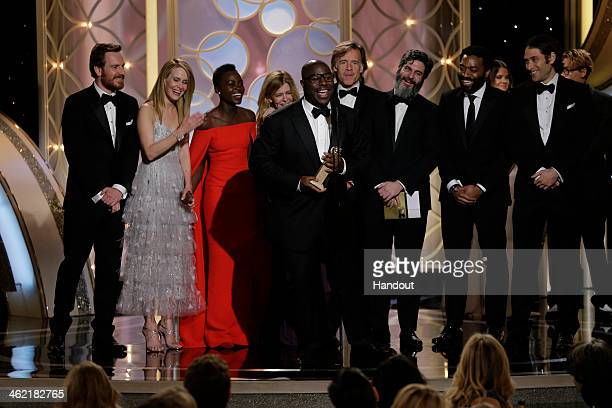 In this handout photo provided by NBCUniversal Steve McQueen and cast accept the award for Best Motion Picture Drama for 12 Years a Slave during the...