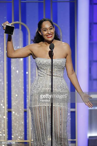 In this handout photo provided by NBCUniversal, Tracee Ellis Ross accepts the award for Best Actress in a Television Series - Musical or Comedy for...
