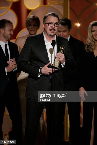 In this handout photo provided by NBCUniversal Vince Gilligan accepts the award for Best TV Series Drama for Breaking Bad during the 71st Annual...