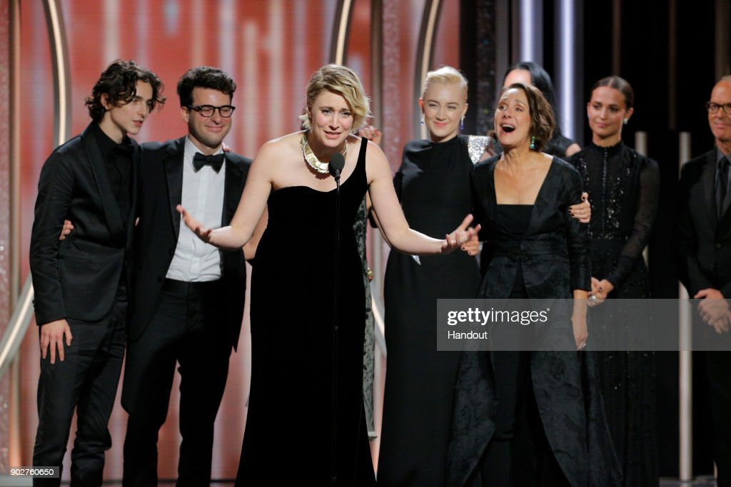 In this handout photo provided by NBCUniversal, Writer/director Greta Gerwig accepts the award for Best Picture – Comedy or Musical for 'Lady Bird' during the 75th Annual Golden Globe Awards at The Beverly Hilton Hotel on January 7, 2018 in Beverly Hills, California.