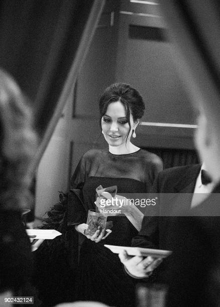 In this handout photo provided by Netflix Angelina Jolie attends the Netflix Golden Globes after party at Waldorf Astoria Beverly Hills on January 7...