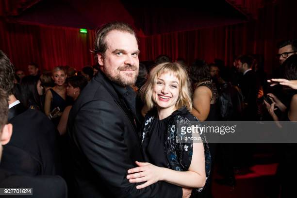 In this handout photo provided by Netflix David Harbour and Alison Sudol attend the Netflix Golden Globes after party at Waldorf Astoria Beverly...