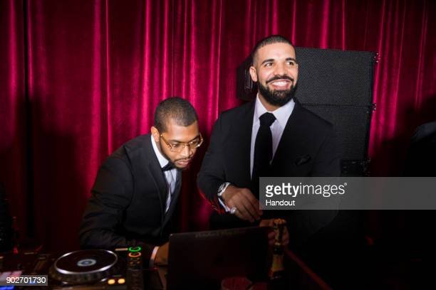 In this handout photo provided by Netflix Drake attends the Netflix Golden Globes after party at Waldorf Astoria Beverly Hills on January 7 2018 in...