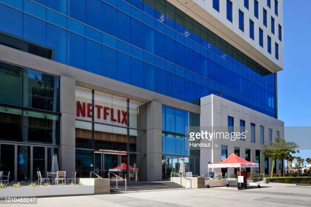 In this handout photo provided by Netflix, is a view of Netflix's headquarters located on Sunset Blvd. On April 20, 2020 in Hollywood, California.