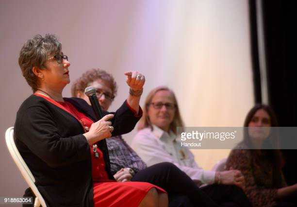In this handout photo provided by Netflix, Necia Freeman speaks to members of the West Virginia Legislature at a screening of the Oscar-nominated...