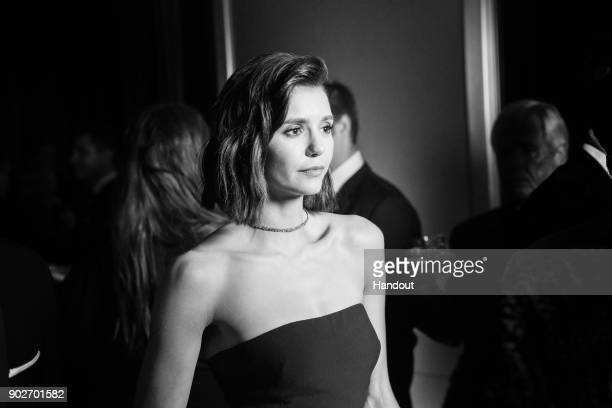 In this handout photo provided by Netflix Nina Dobrev attends the Netflix Golden Globes after party at Waldorf Astoria Beverly Hills on January 7...