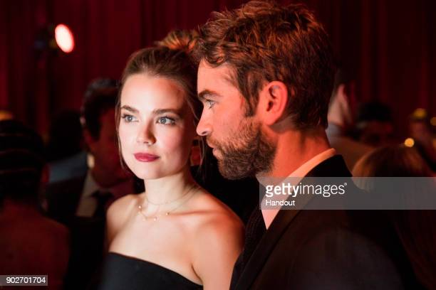 In this handout photo provided by Netflix Rebecca Rittenhouse and Chase Crawford attend the Netflix Golden Globes after party at Waldorf Astoria...
