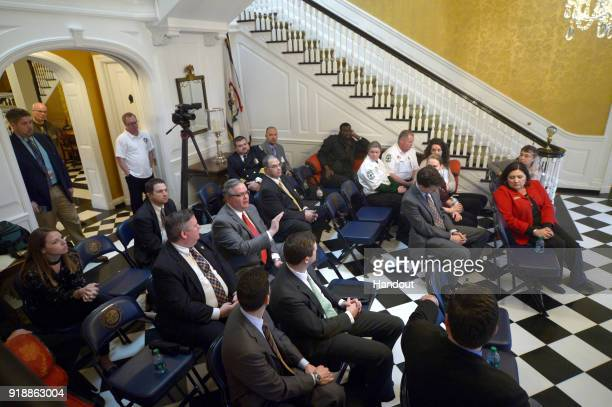 In this handout photo provided by Netflix, West Virginia Deputy Chief of Staff & Director of Communications Michael L. Queen speaks to members of the...