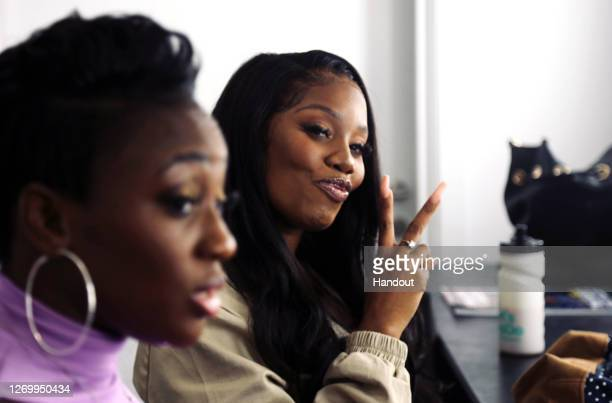 In this handout photo provided by Notting Hill Carnival, a general view of hosts Remel London and BBC Radio 1Xtra DJ Nadia Jae, behind the scenes of...