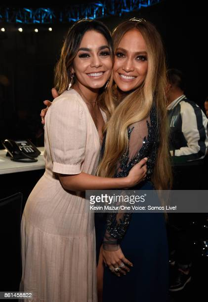 In this handout photo provided by One Voice Somos Live actor Vanessa Hudgens and singer Jennifer Lopez pose backstage during 'One Voice Somos Live A...