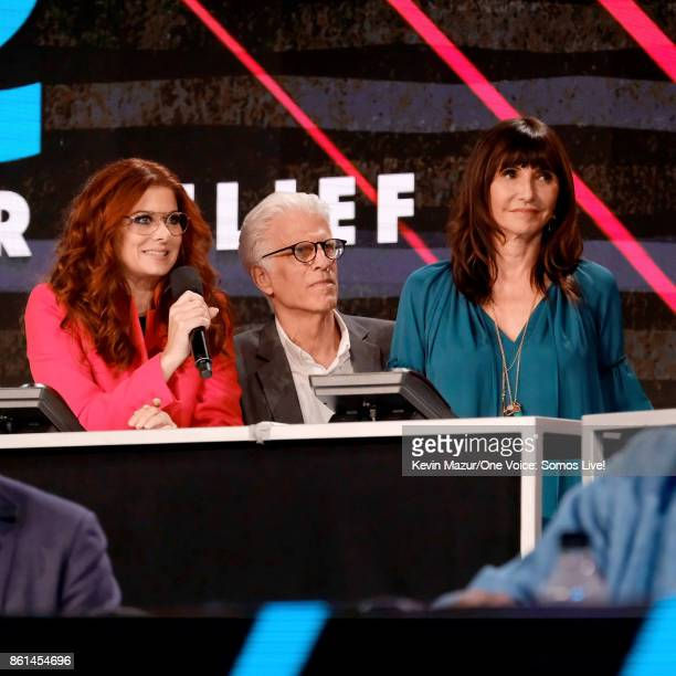 In this handout photo provided by One Voice Somos Live actors Debra Messing Ted Danson and Mary Steenburgen participate in the phone bank onstage...