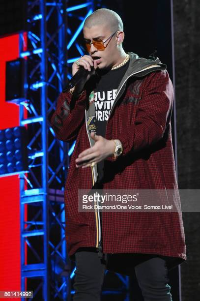 In this handout photo provided by One Voice Somos Live Bad Bunny performs onstage at One Voice Somos Live A Concert For Disaster Relief at Marlins...