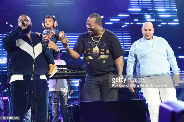 In this handout photo provided by One Voice Somos Live DJ Khaled speaks onstage with his son Asahd Tuck Khaled Busta Rhymes and Fat Joe at One Voice...