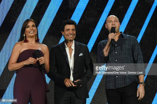 In this handout photo provided by One Voice Somos Live Giselle Blondet Chayanne and Derek Jeter speak onstage at One Voice Somos Live A Concert For...