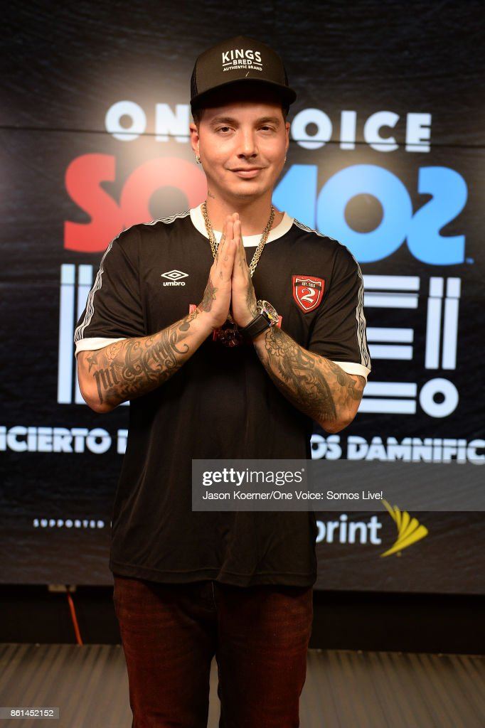 In this handout photo provided by One Voice: Somos Live!, J Balvin poses in the pressroom at One Voice: Somos Live! A Concert For Disaster Relief at Marlins Park on October 14, 2017 in Miami, Florida.