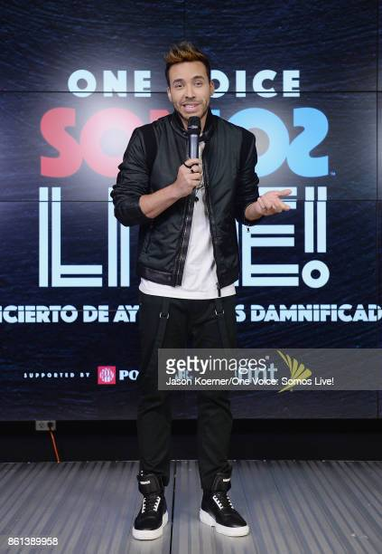 In this handout photo provided by One Voice Somos Live Prince Royce poses in the pressroom at One Voice Somos Live A Concert For Disaster Relief at...