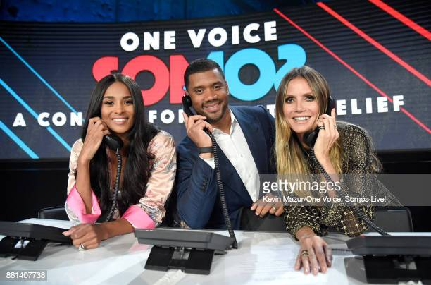 In this handout photo provided by One Voice Somos Live singer Ciara NFL player Russell Wilson and Heidi Klum participate in the phone bank onstage...