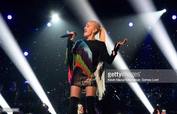 In this handout photo provided by One Voice Somos Live singer Gwen Stefani performs onstage during One Voice Somos Live A Concert For Disaster Relief...