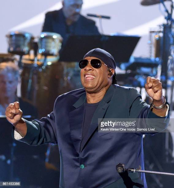 In this handout photo provided by One Voice Somos Live Stevie Wonder performs onstage during One Voice Somos Live A Concert For Disaster Relief at...