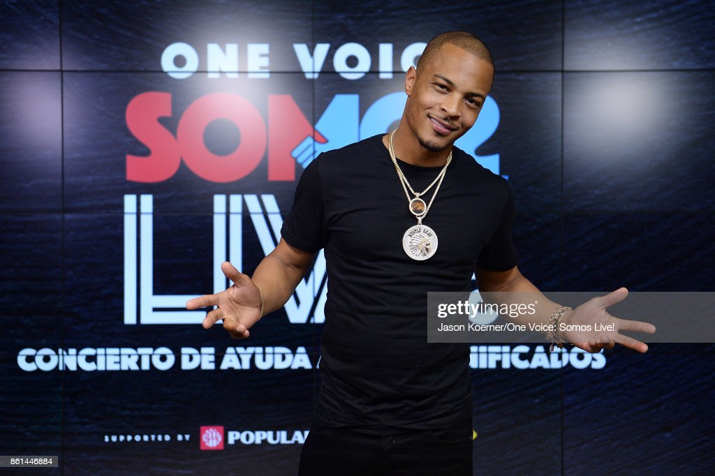 In this handout photo provided by One Voice: Somos Live!, T.I. poses in the pressroom at One Voice: Somos Live! A Concert For Disaster Relief at Marlins Park on October 14, 2017 in Miami, Florida.