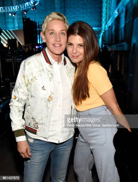 In this handout photo provided by One Voice Somos Live tv personality Ellen DeGeneres and actor Marisa Tomei pose backstage during 'One Voice Somos...
