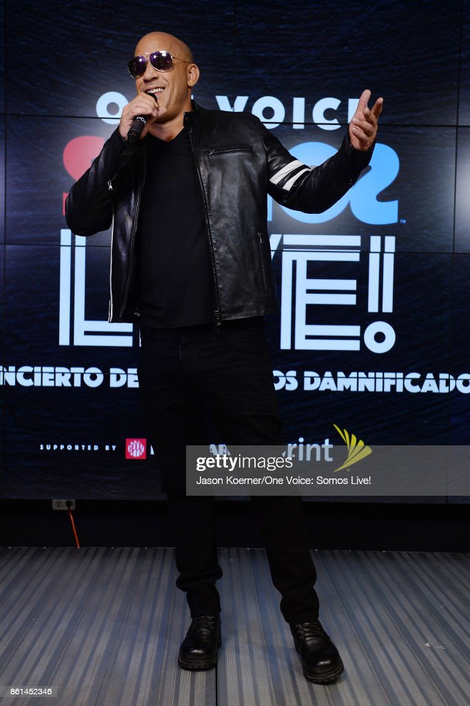 In this handout photo provided by One Voice: Somos Live!, Vin Diesel poses in the pressroom at One Voice: Somos Live! A Concert For Disaster Relief at Marlins Park on October 14, 2017 in Miami, Florida.
