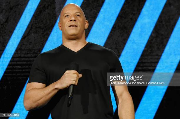 In this handout photo provided by One Voice Somos Live Vin Diesel speaks onstage at One Voice Somos Live A Concert For Disaster Relief at Marlins...