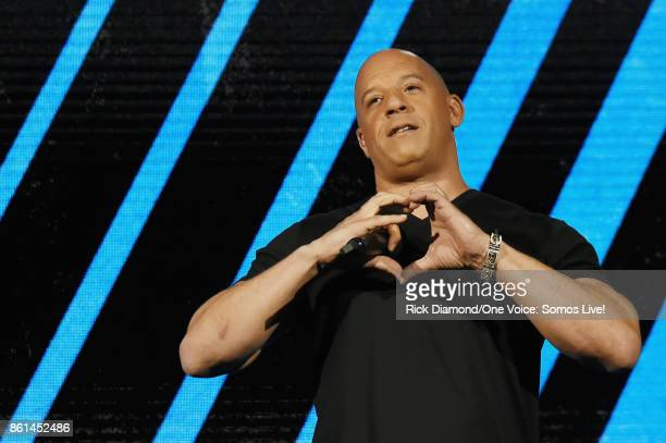 In this handout photo provided by One Voice: Somos Live!, Vin Diesel speaks onstage at One Voice: Somos Live! A Concert For Disaster Relief at...