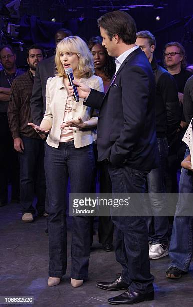 In this handout photo provided by Pimentel Photography Actress Rachel McAdams and host Ben Mulroney attend the Canada For Haiti Benefit on January 22...