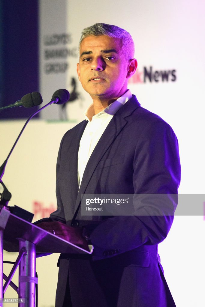 In this handout photo provided by Pink News, Mayor of London Sadiq Khan, speaks on stage during the Pink News Awards 2017 held at One Great George Street on October 18, 2017 in London, England.