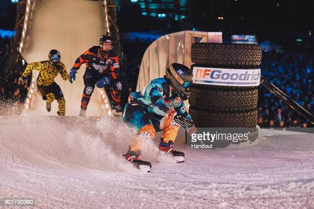 In this handout photo provided by Red Bull Kale Johnstone of the United States Danny Hansen of the Netherlands and Miika Miettinen of Finland compete...