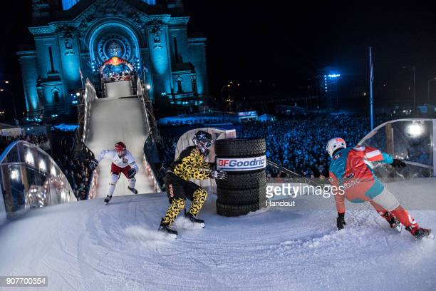 In this handout photo provided by Red Bull Miika Miettinen of Finland Oliver Isaac of Canada and Johan Sorkin of Sweden compete during the Qualifiers...