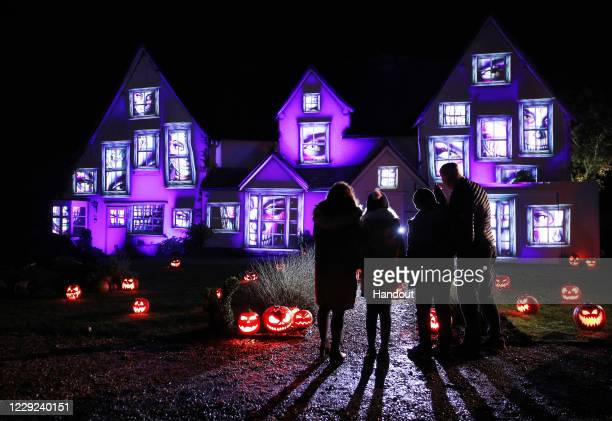 In this handout photo provided by Samsung and released on October 26, a general view of the Halloween display is seen at The Old Bury, the oldest...