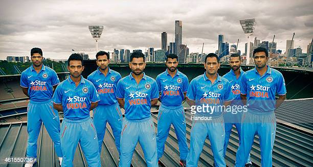 In this handout photo provided by SDP Media members of the Indian cricket team Umesh Yadav Rohit Sharma RJadeja Shikhar Dhawan Ajinkya Rahane Virat...