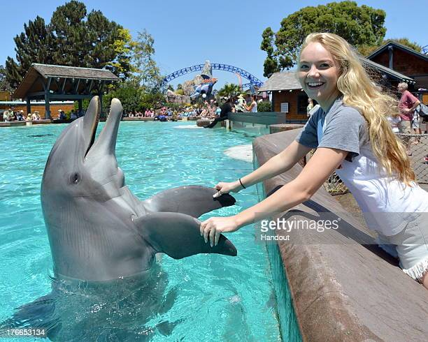 In this handout photo provided by SeaWorld San Diego Danielle Bradbery winner of season 4 of 'The Voice' meets a bottlenose dolphin named Dottie...