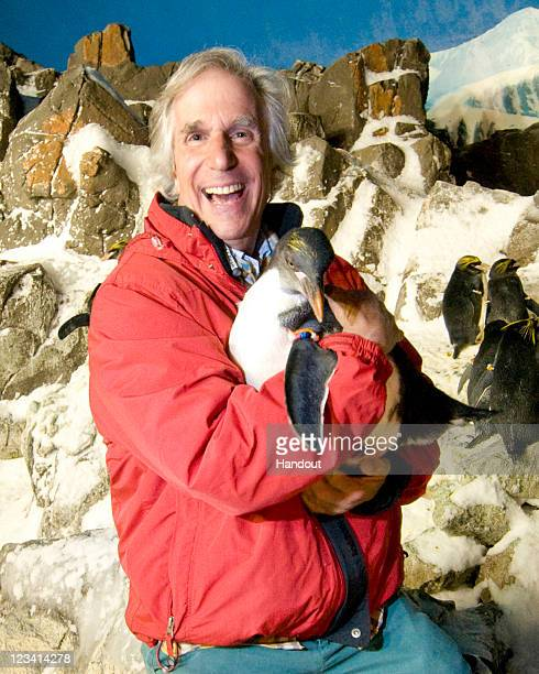 In this handout photo provided by SeaWorld San Diego Now that's Cool Television and motion picture icon Henry Winkler chills out with some of his...
