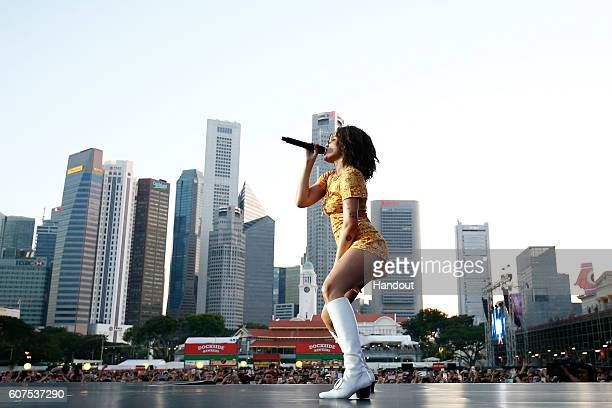 In this handout photo provided by Singapore GP Halsey performs on stage during day three of the Singapore Formula One Grand Prix at Marina Bay Street...