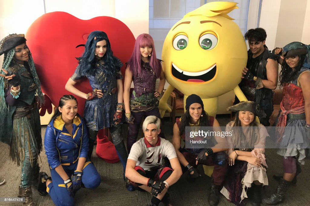 In this handout photo provided by Sony Pictures Entertainment, The Descendants post with the Emoji from Columbia Picture and Sony Pictures Animation's THE EMOJI MOVIE at Good Morning America in on July 17, 2017 in New York City.