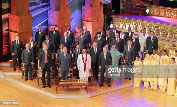 In this handout photo provided by Sri Lankan Government Commonwealth SecretaryGeneral Kamalesh Sharma Prince Charles Prince of Wales Sri Lankan...