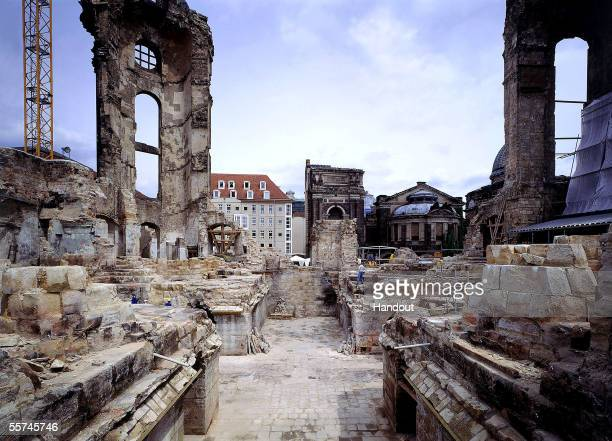 In this handout photo provided by Stiftung Frauenkirche the remains of the Frauenkirche Cathedral are shown as the first reconstruction work began in...