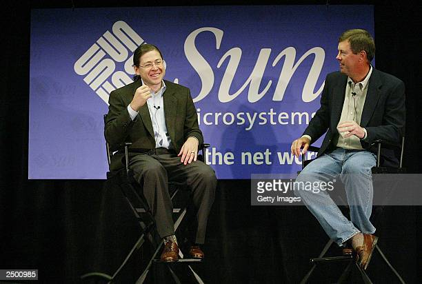 In this handout photo provided by Sun Microsystems, Sun executive vice president Jonathan Schwartz shares a laugh with Sun CEO Scott McNealy during a...