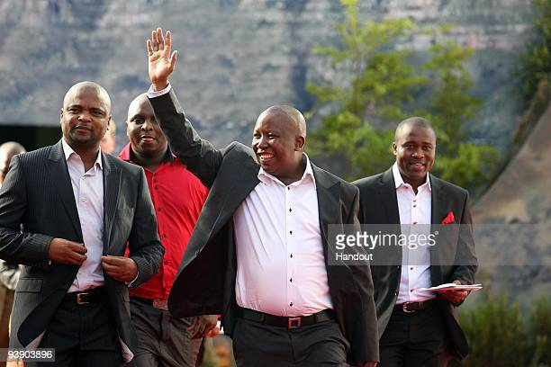 In this handout photo provided by the 2010 FIFA World Cup Organising Committee, ANC Youth League President Julius Malema sttends the Red Carpet event...