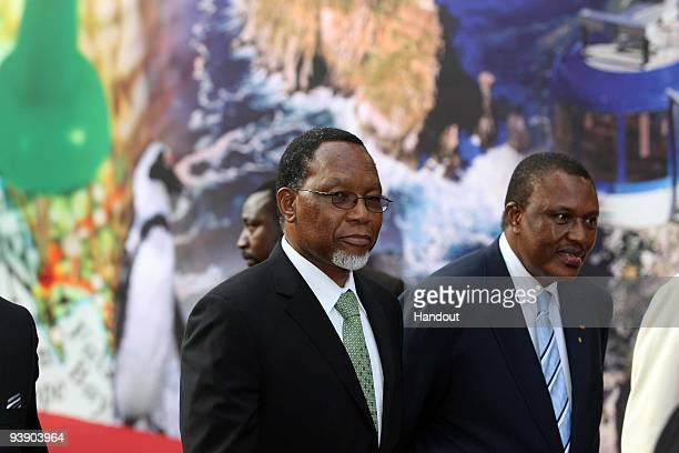 In this handout photo provided by the 2010 FIFA World Cup Organising Committee Deputy President of South Africa Kgalema Motlanthe and Irvin Khoza...