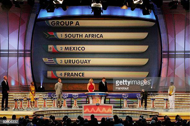 In this handout photo provided by the 2010 FIFA World Cup Organising Committee Group A showing South Africa Mexico Uruguay and France during the 2010...