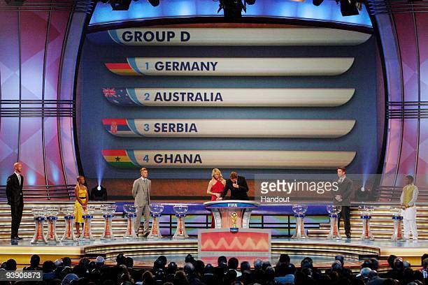 In this handout photo provided by the 2010 FIFA World Cup Organising Committee Group D showing Germany Australia Serbia and Ghana during the 2010...