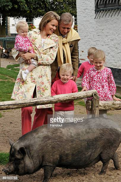 In this handout photo provided by the Belgian Royal Palace Prince Emmanuel Princess Eleonore Princess Mathilde Prince Gabriel Prince Philippe and...